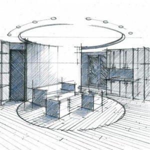 croquis courbes et cylindres architecte interieur