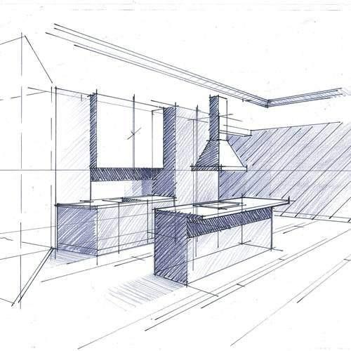 croquis espaces cuisine architecte intérieur