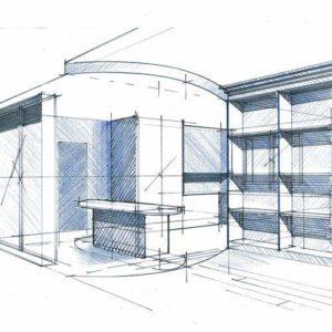 perspective salon architecte intérieur